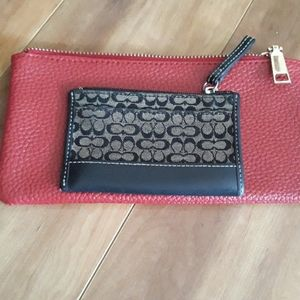 Coach coin purse with Red makeup bag